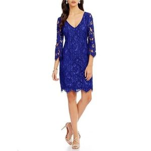 Belle Badgely Mischka Katia Blue Lace Dress 4 $200